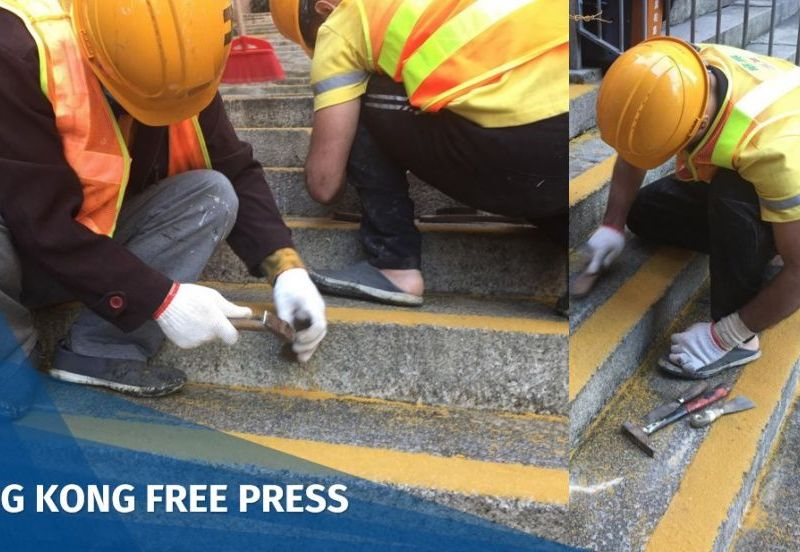 workers yellow non-slip coating Shing Wong Street