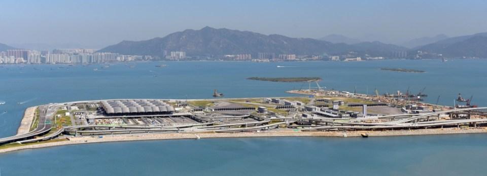 Hong Kong-Zhuhai-Macao Bridge Hong Kong port artificial island.