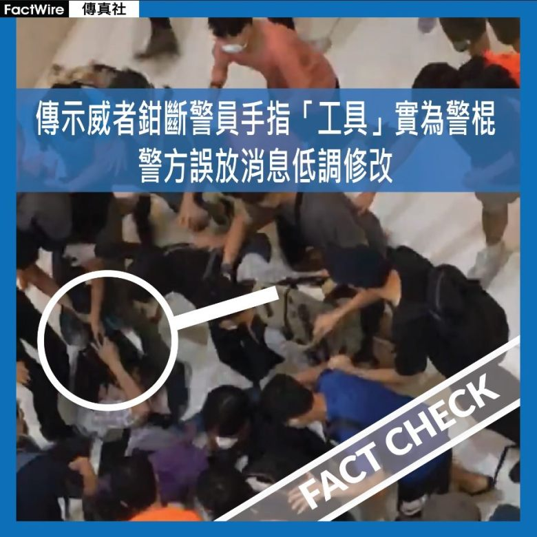protester police baton factwire
