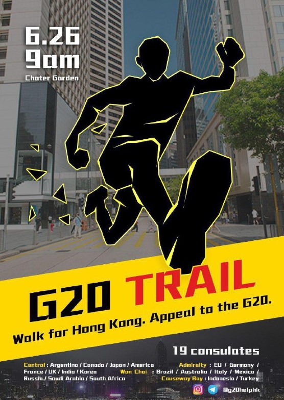 G20 trail walk anti-government extradition foreign embassies consulates