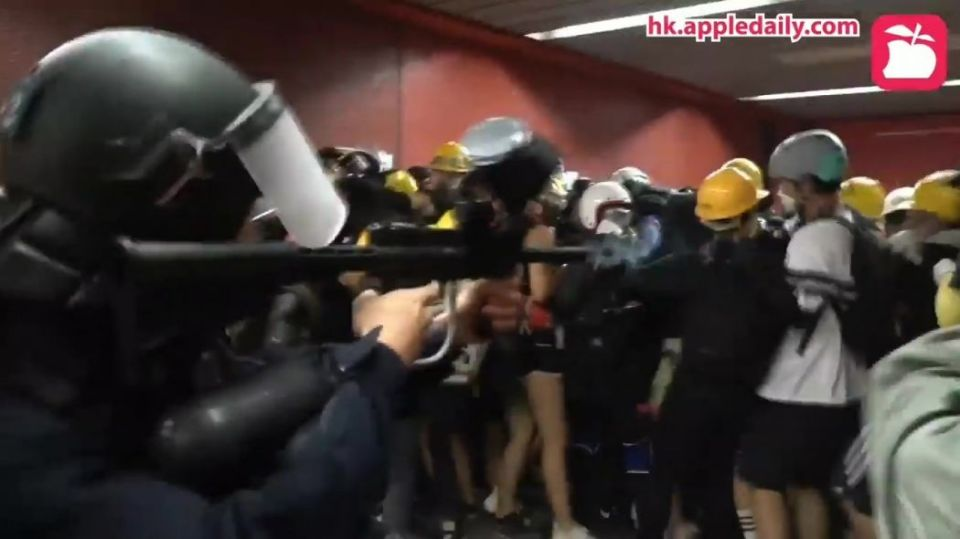 Hong Kong police Tai Koo MTR fire pepper ball protesters