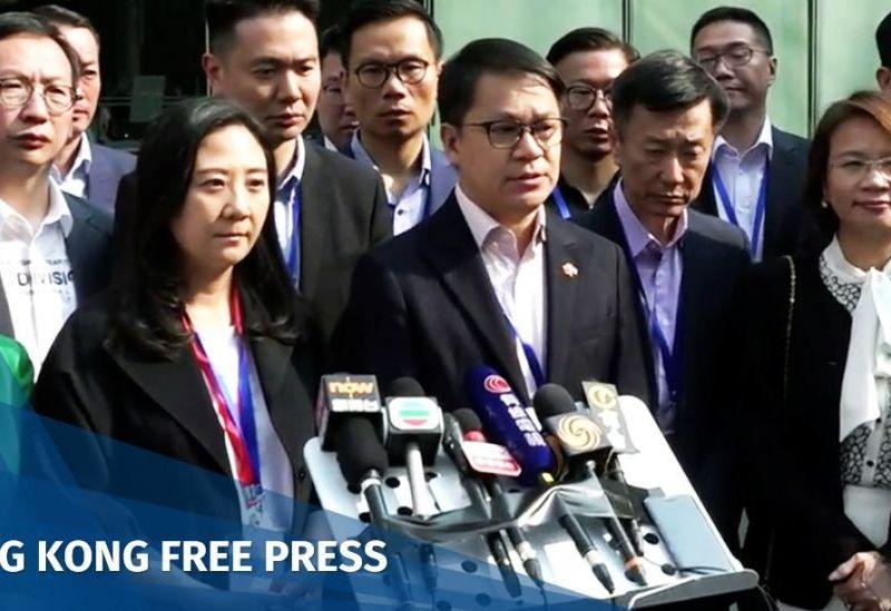 pro-Beijing lawmakers protest