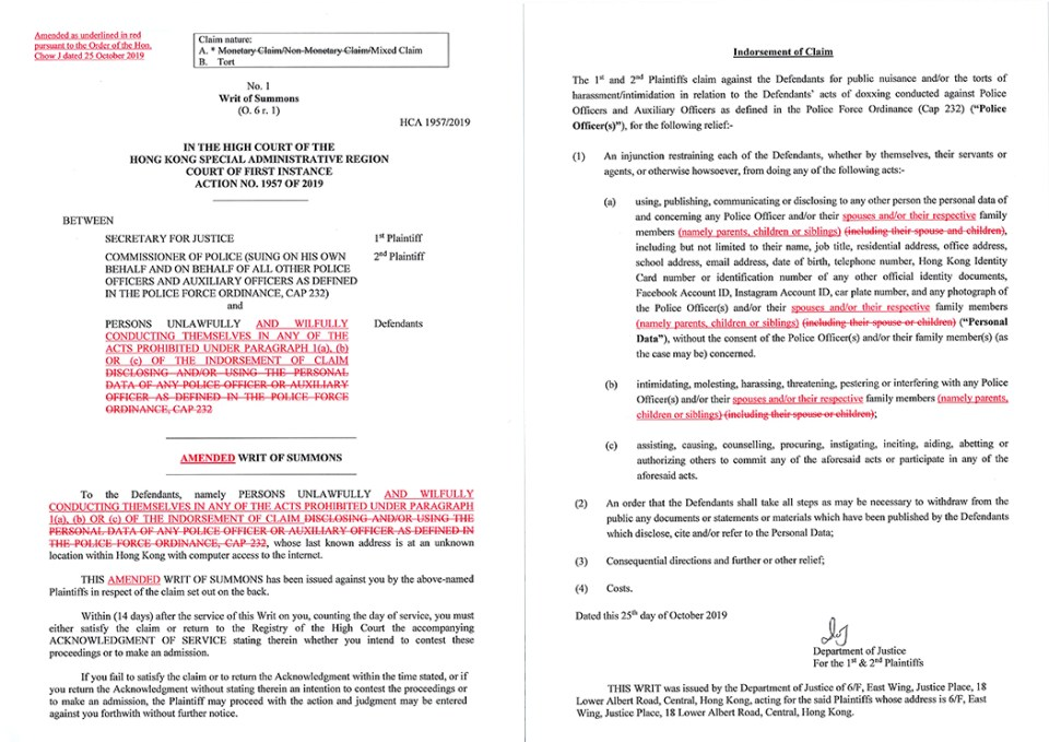 injunction amended writ of summons