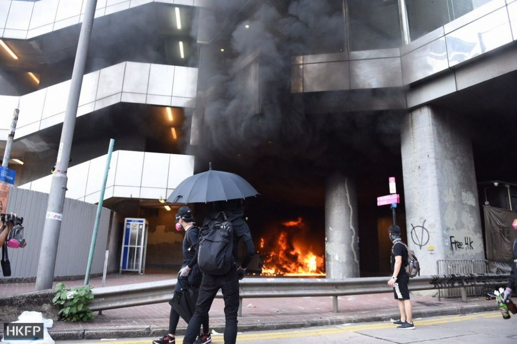 October 1 National Day protests Hong Kong Island fire