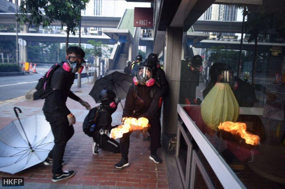 October 1 National Day protests Hong Kong Island Molotov cocktail petrol bomb protester