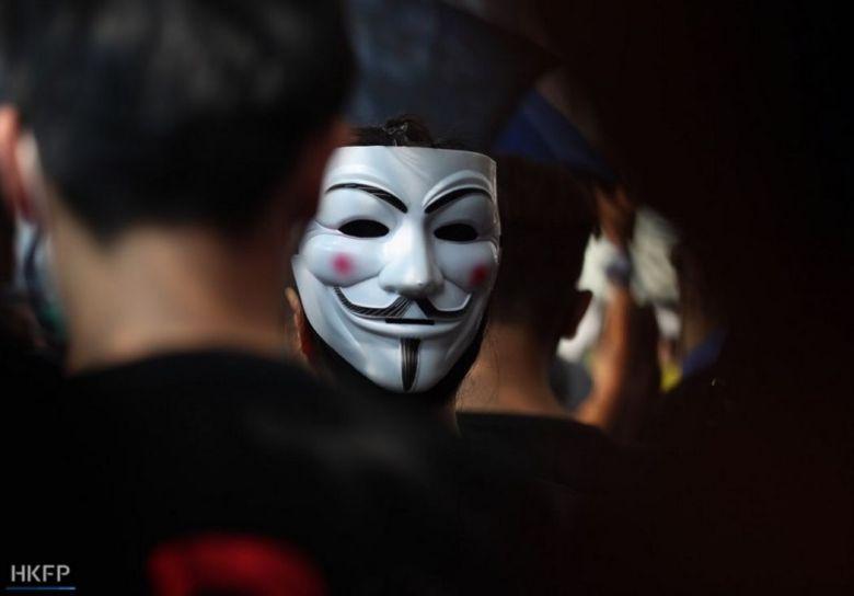 October 20 anti-mask Guy Fawkes protest Tsim Sha Tsui