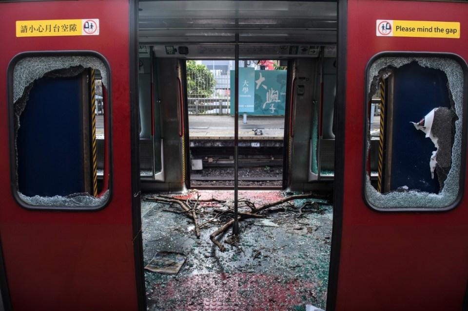 Hong Kong MTR University CUHK trashed vandalised
