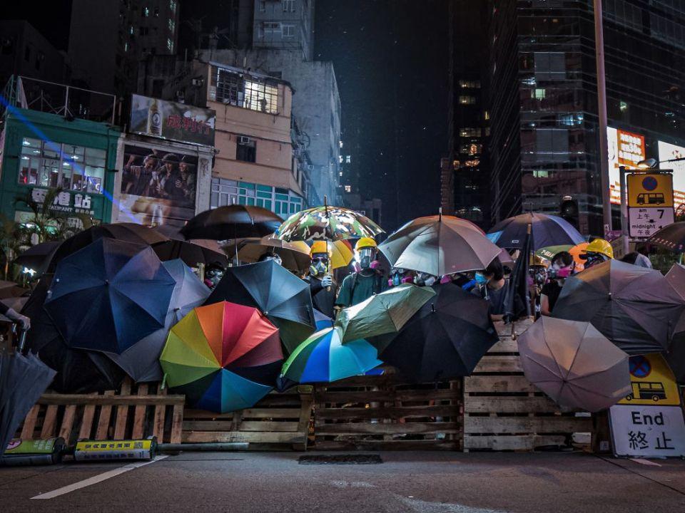 """""""September 6"""" Prince Edward Mong Kok Police Station umbrellas roadblock defence line"""