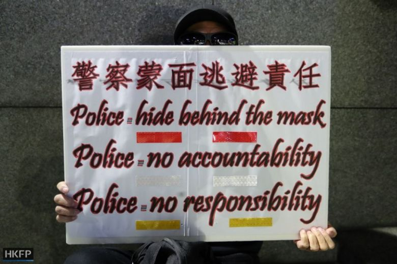 """""""November 9"""" rally Tamar Park Alex Chow protest pro-democracy Admiralty Police hide behind the mask no accountability no responsibility"""
