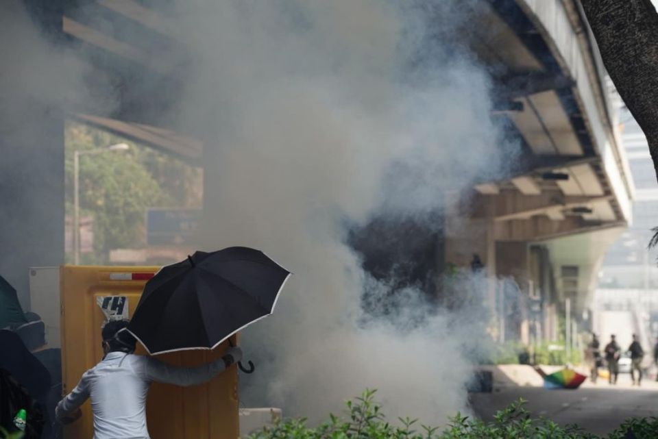 tear gas near Queen Elizabeth Hospital