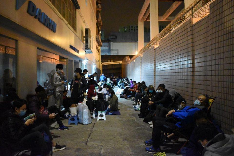 face mask queue overnight
