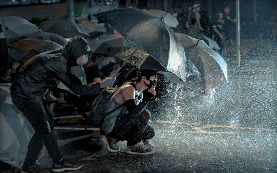 rain hong kong protests