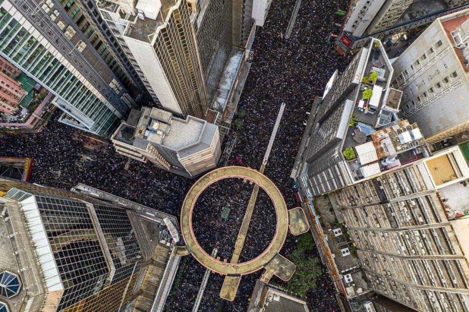 hong kong protest aerial causeway bay
