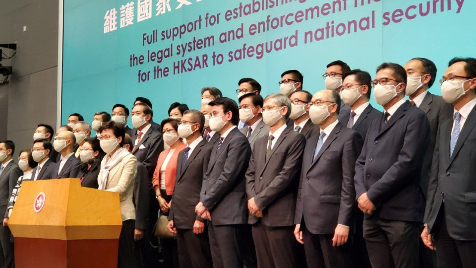 national security carrie lam press