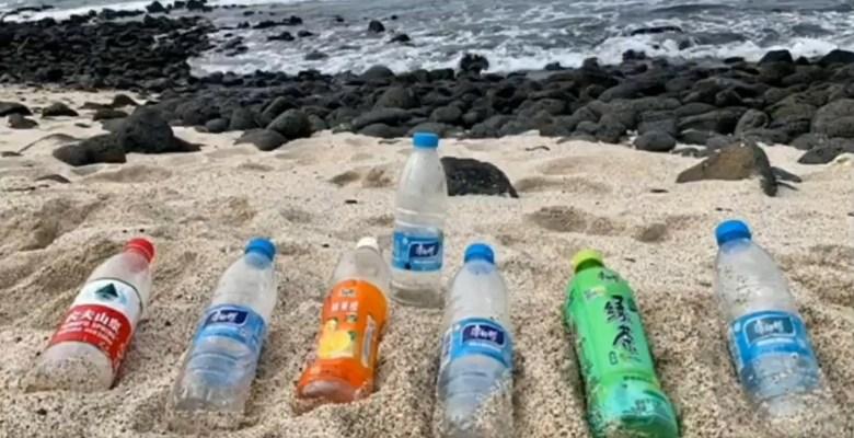 galapagos islands empty water bottles