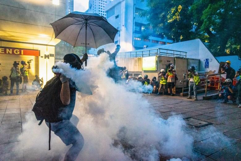 Protest Tsim Sha Tsui police station August 11, 2019 tear has