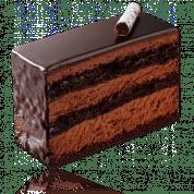 Caracas: Biscuit au chocolat noir amer, garni d'une mousse chocolat noir vanillée et sans alcool. Glaçage chocolat noir.