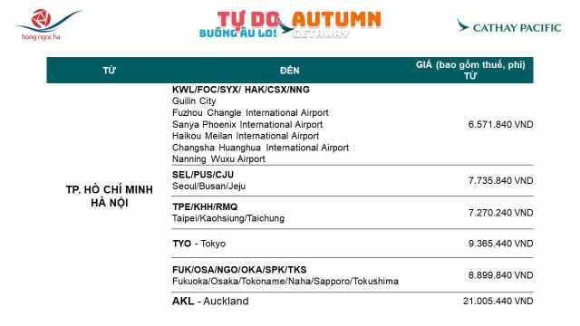 Ưu đãi Cathay Pacific 2019 - Update Oct