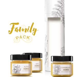 Tube «Family Pack»: Sonnenblumenhonig, Rapshonig und Blütenhonig