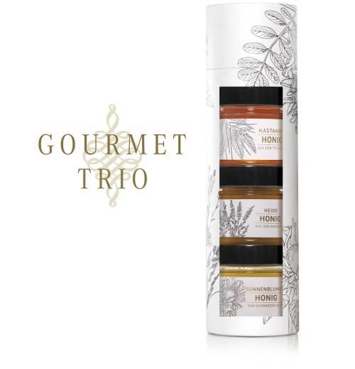 Tube «Gourmet-Trio»: Heidehonig, Edelkastanienhonig und Sonnenblumenhonig