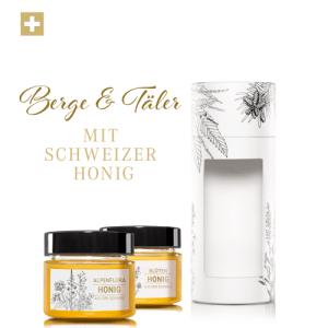 Tube «Berge und Täler»: Schweizer Blütenhonig und Schweizer Alpenflorahonig,
