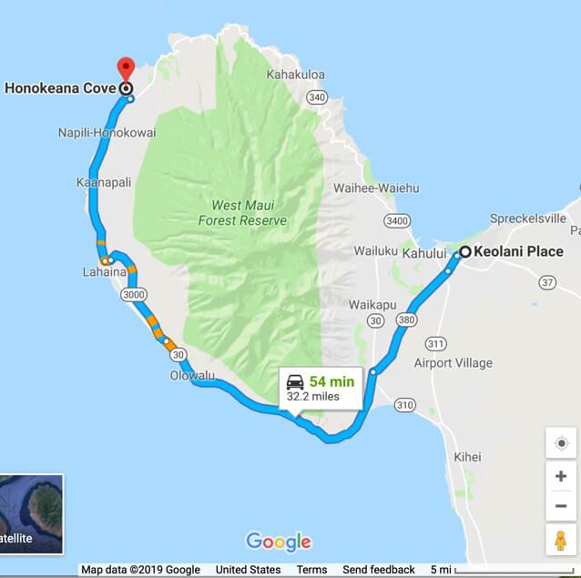 Driving route to Honokeana Cove