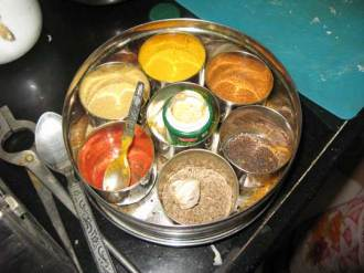 Her trove of spices: fennel, garlic, mustard seeds, turmeric, saffron, garam masala, hing, ginger, chili