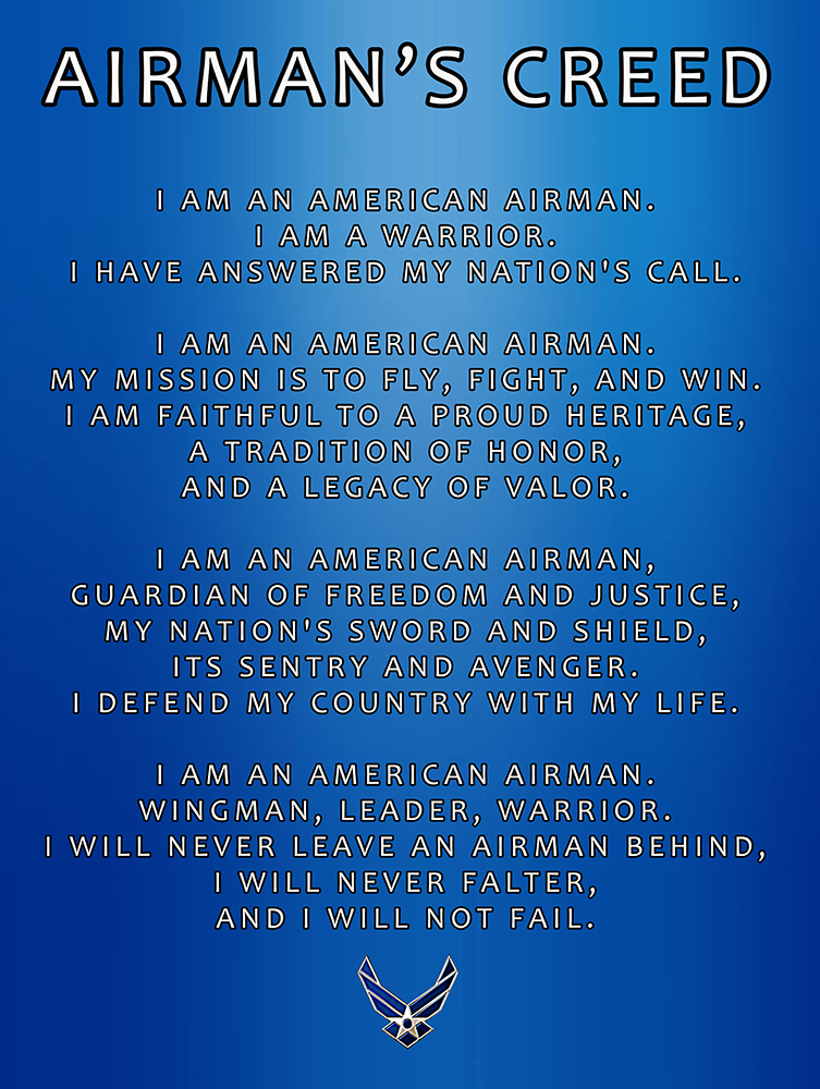 Airmans creed poster honor duty valor description usaf poster featuring the airmans creed thecheapjerseys Images