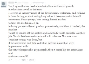 Product Testing Assessments comment