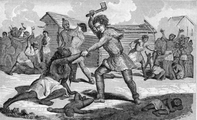 Early Americans massacring Indigenous people.