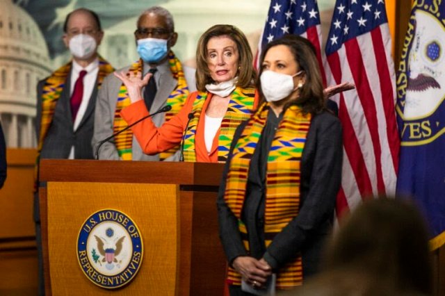 House Speaker Nancy Pelosi of Calif., with Sen. Kamala Harris, D-Calif., and other Congressional Democrats, speaks during a news conference to unveil policing reform and equal justice legislation on Capitol Hill, Monday, June 8, 2020, in Washington. (AP Photo/Manuel Balce Ceneta)
