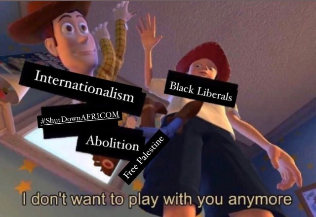 An artist's representation of Black Liberals throwing away internationalism and social justice movements now that Democrats are back in office.