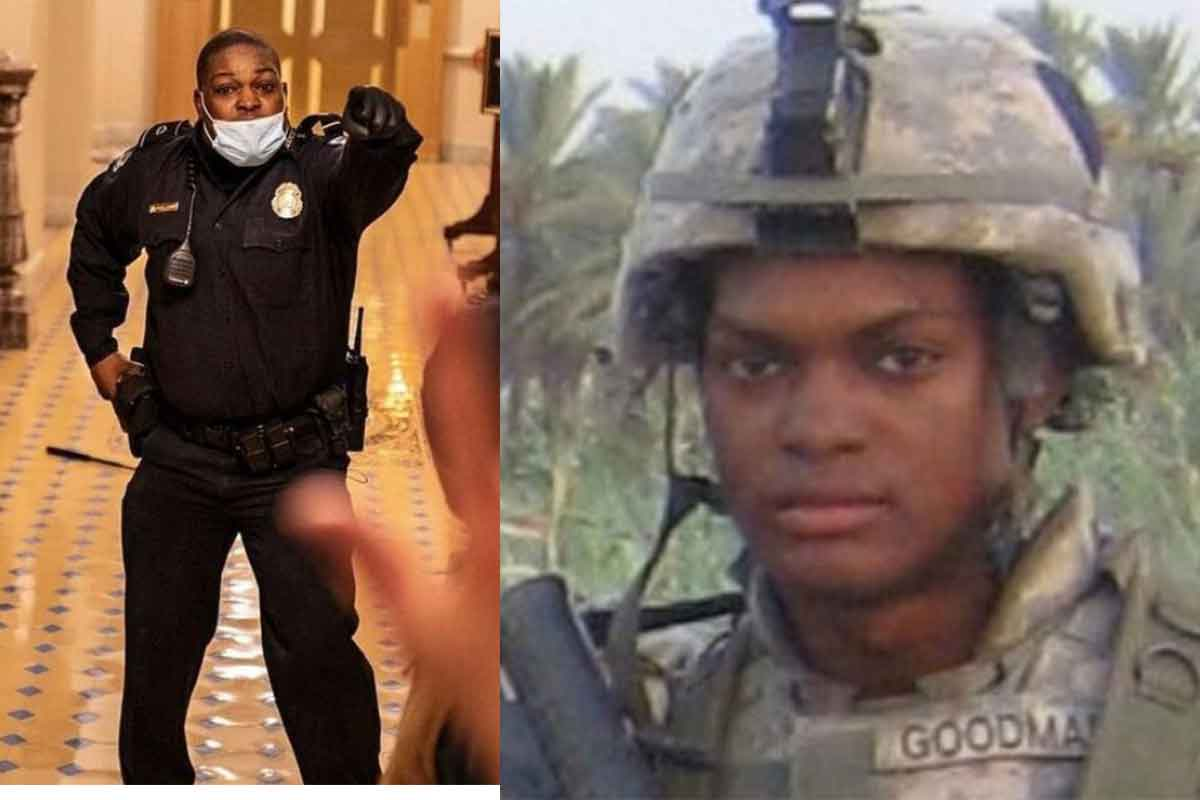 Capitol police officer Eugene Goodman seen holding off protesters at the U.S. Capitol and in a photo from his days as a U.S. soldier. (XVIII Airborne Corps/Twitter)