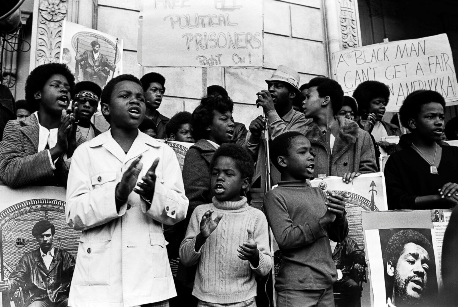 African children at a rally to free political prisoners organized by the Black Panther Party.