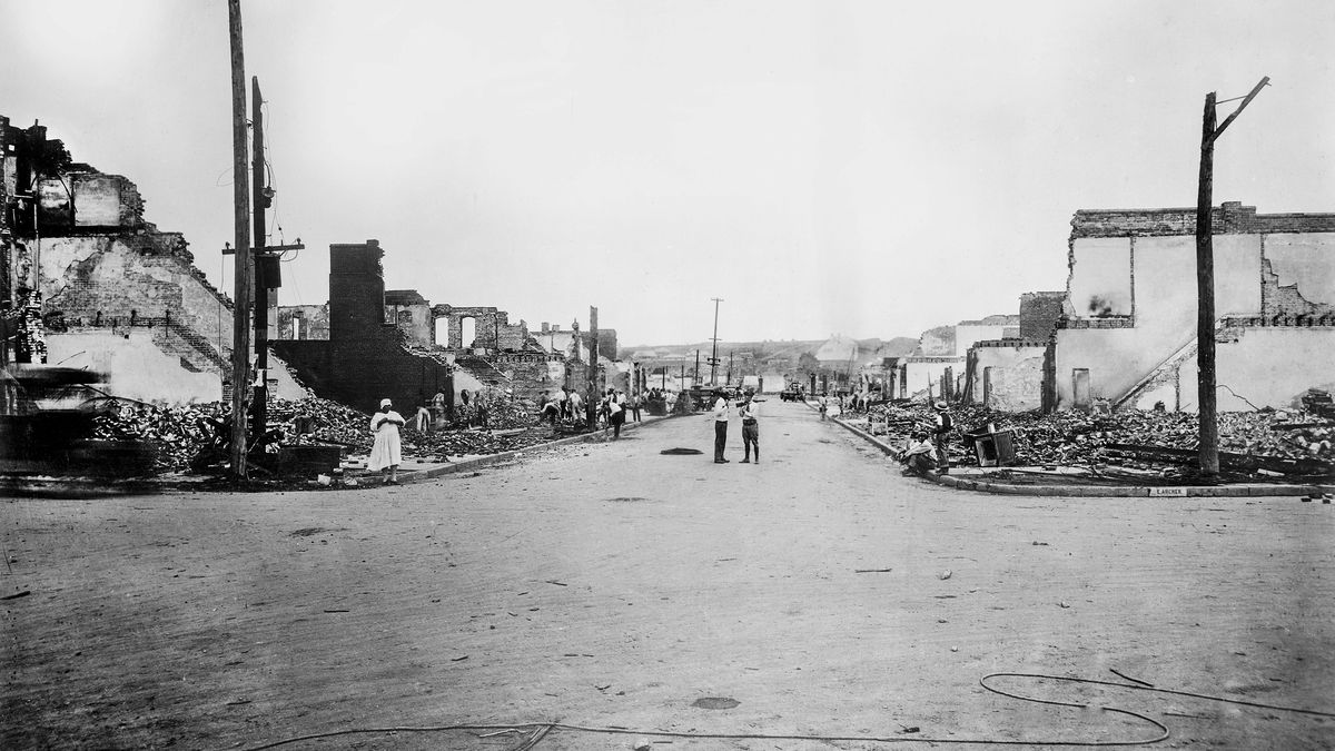 The aftermath of the massacre in Tulsa that later became known as the destruction of Black Wall Street.