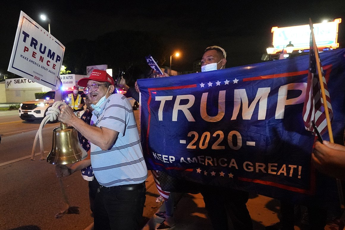 Cuban-Americans in Miami protesting in support of Donald Trump