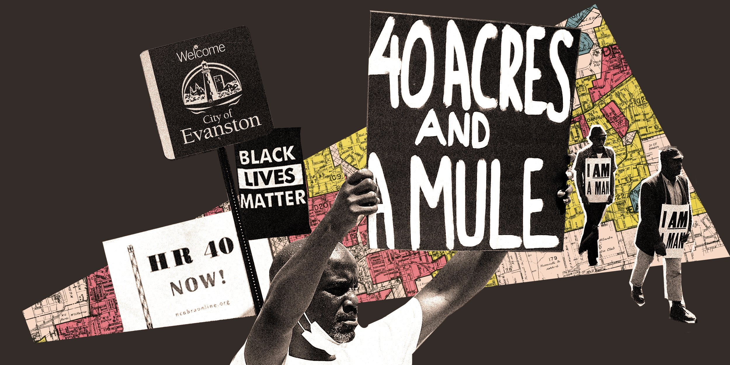 An artists collage with a theme of reparations.