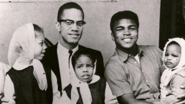 Malcolm X and Muhammad Ali with their children - a still from the Netflix documentary Blood Brothers
