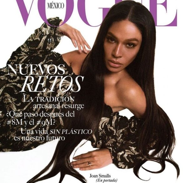 Joan Smalls covers the April 2020 issue of Vogue Mexico and Latin America along with Latin music stars Bad Bunny and J Balvin. Photographed by Gorka Postigo.