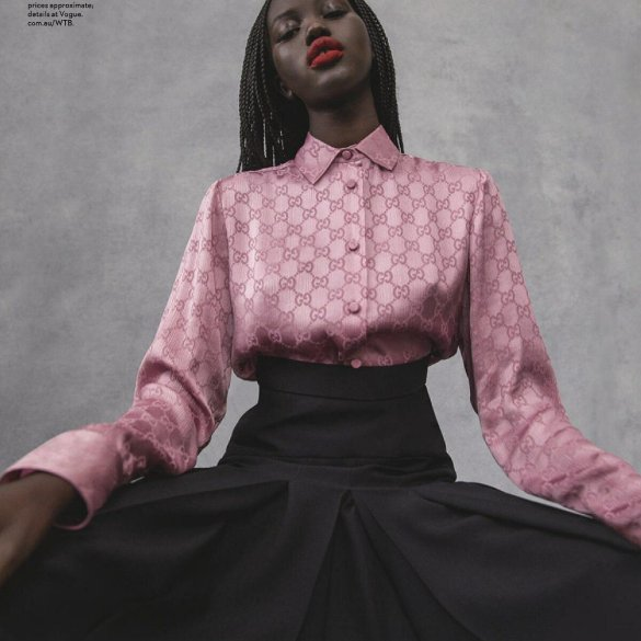 Adut Akech for Vogue Australia August 2020. Photographed by Centenera and styled by Christine Centenera. Hair by Sophie Roberts and makeup by Kellie Stratton.