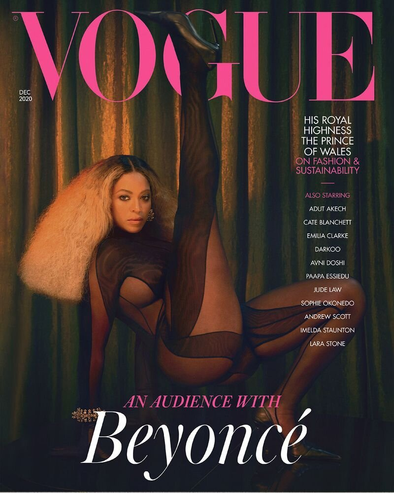Beyoncé for British Vogue, December 2020 Issue. Photographed by Kennedi Carter, who becomes the youngest photographer to shoot a British Vogue cover at 21. Styled by Edward Enninful.