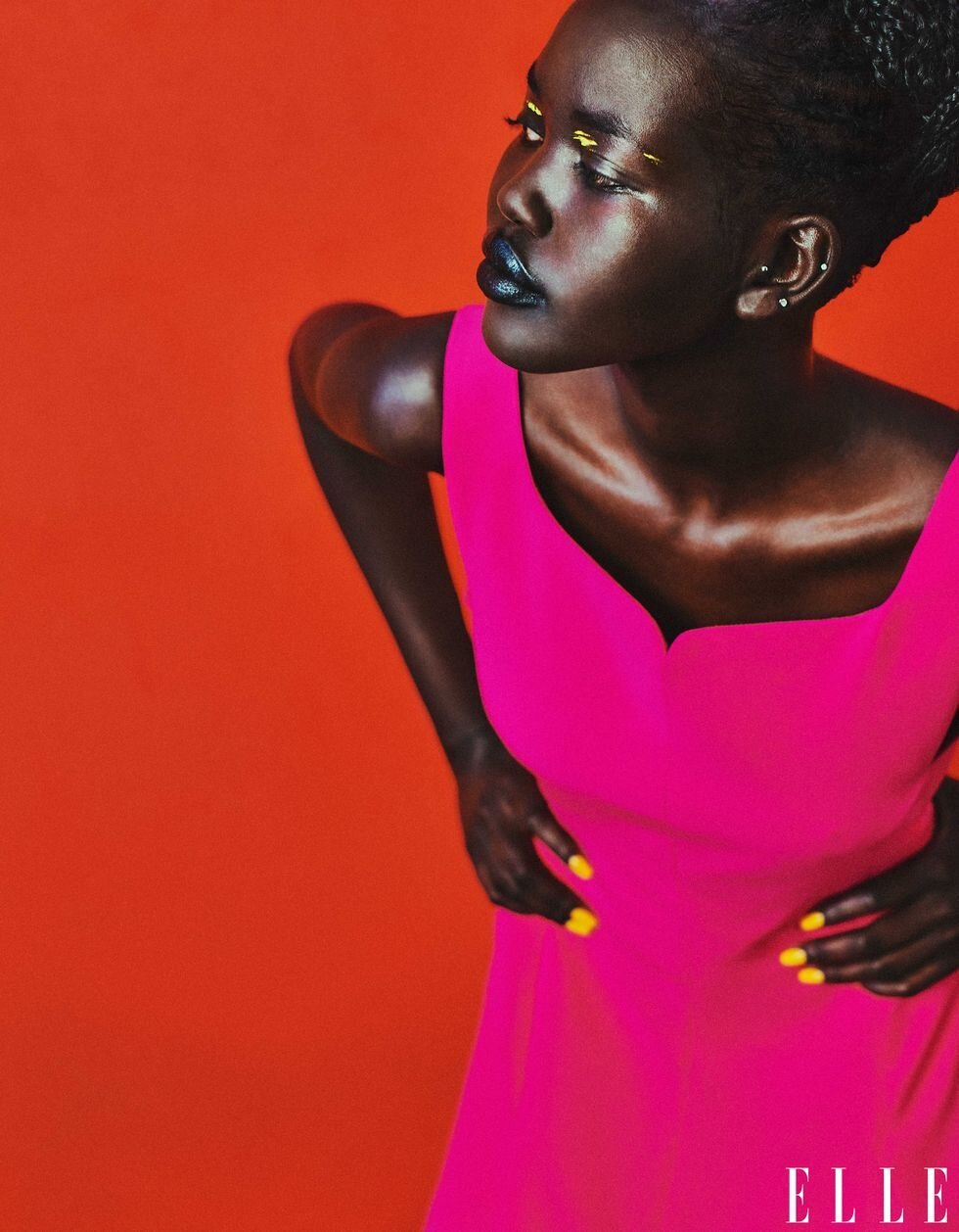 Adut Akech for ELLE US August 2021. Photographed by Chris Colls and styled by Alex White.