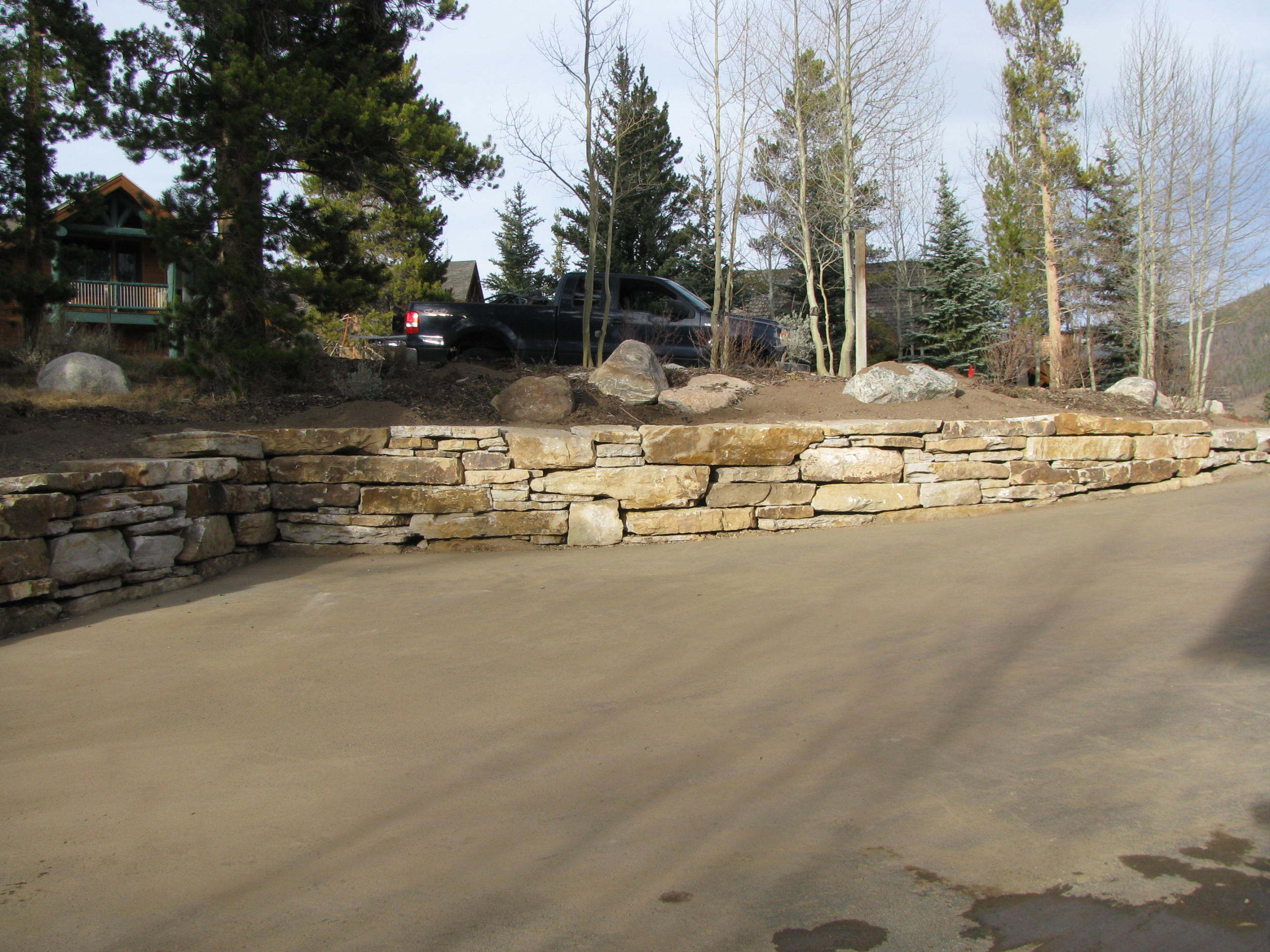 stone retaining wall summit county colorado