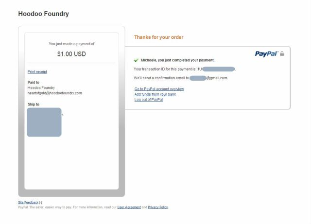 Once you complete your payment, you det a head-pat from PayPal.