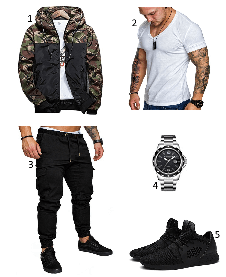 Camouflage Übergangsjacke Outfit