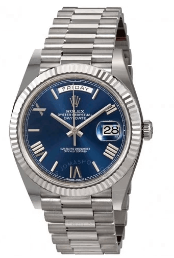Day-Date 40 Blue Dial 18K White Gold President Automatic Men's Watch