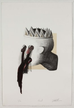 """Head,"" by John DiDomenico. 15x22'' Lithograph with chine colle' and hand-coloring, limited edition of 12. $250."