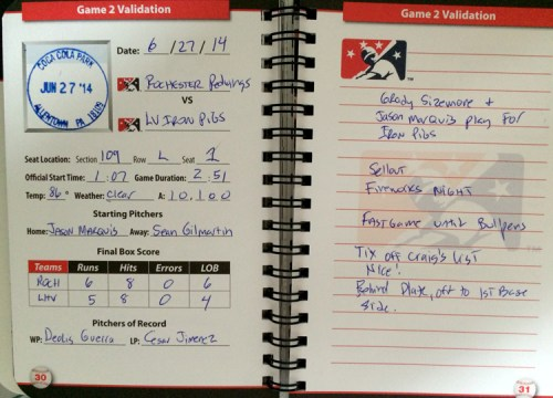 One of my filled out pages. I don't put a ton of stuff in the notes, rather items of interest to me.