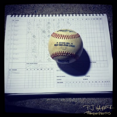 A New York-Penn League ball and a scorebook ... but not from any perfect game.