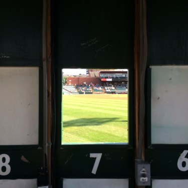Looking out from the scoreboard in York.